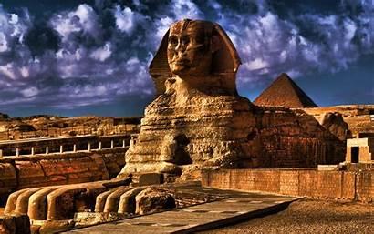 Sphinx Egyptian Pyramids Landmarks Giza Sand Dunes