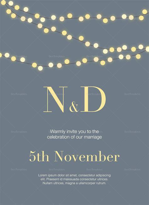 string lights wedding invitation design template  psd