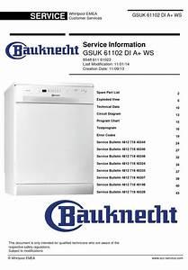 Bauknecht Gsuk 61102 Di A  Ws Dishwasher Service Manual