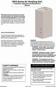 Panasonic Mva Series Air Handling Unit Service Manual Iom 1 0