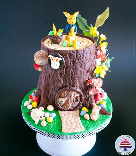 easter tree stump cake  peter rabbit veena azmanov