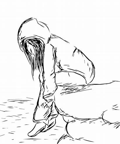 Depression Coloring Pages Drawn Depressed Printable Getcolorings