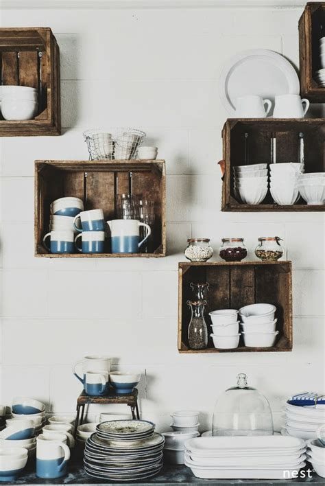 kitchen storage wall wall mounted box shelves a trendy variation on open shelves 3199