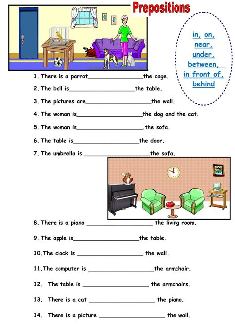 Prepositions Of Place Online Worksheet And Pdf