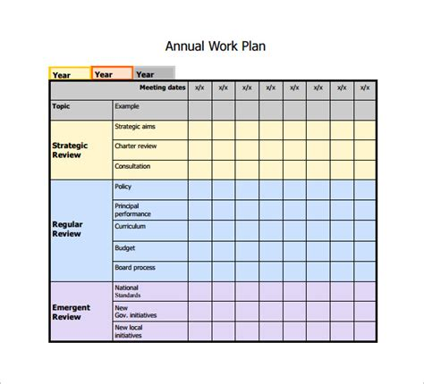annual work plan template  printable schedule template