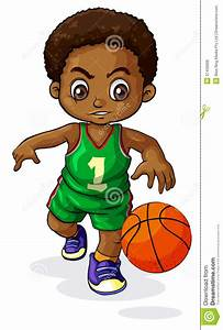 A Young Black Boy Playing Basketball Royalty Free Stock ...