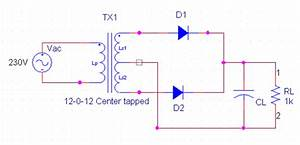 Center Tapped Full Wave Rectifier Circuit