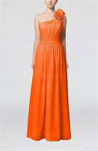 tangerine elegant sheath one shoulder zip up floor length With tangerine dresses for wedding