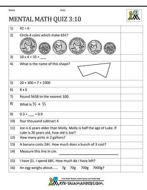 mental maths worksheets for class 3 free printable