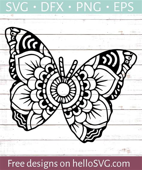 Each of the svg/dxf letter files has six layers. Mandala Butterfly SVG SVG - Free SVG files | HelloSVG.com