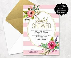 Blush pink floral bridal shower invitation template for Wedding shower invite template