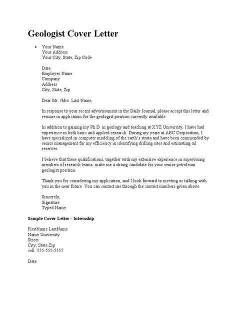 cover leter for fresh graduate geologist cover letter geologist geologist cover letter geology