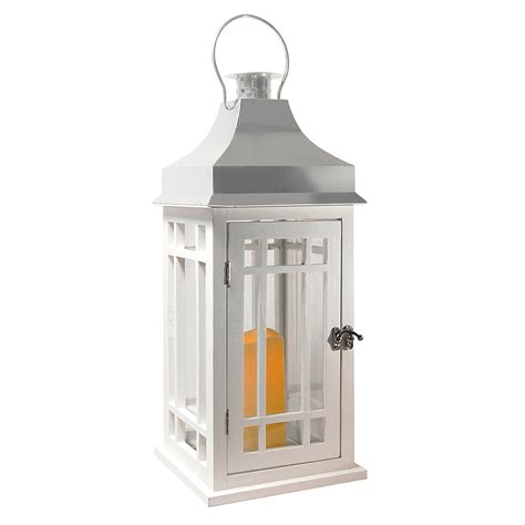 Chrome Candle Lantern by Lantern Wooden Lantern With Led Candle White With Chrome