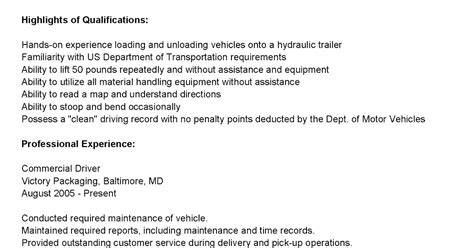 Commercial Driver Resume by Driver Resumes Commercial Driver Resume Sle