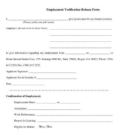 Voe Template by Employment Verification Form Template 5 Free Pdf