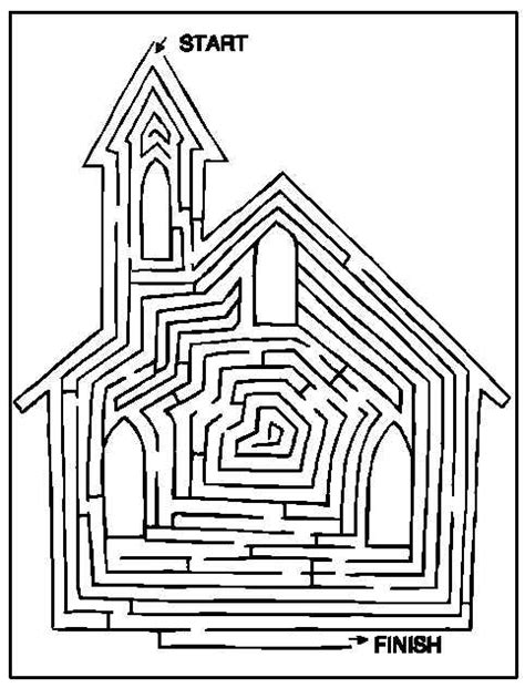 church coloring pages find your way through the church maze free printable