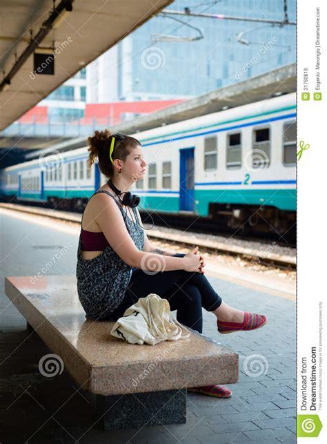 beautiful stylish modern young woman waiting train stock