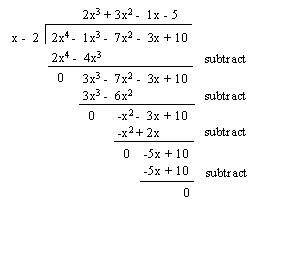 Sparknotes Polynomial Functions Long Division Of Polynomials