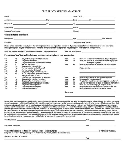 beauty therapy client consultation form template
