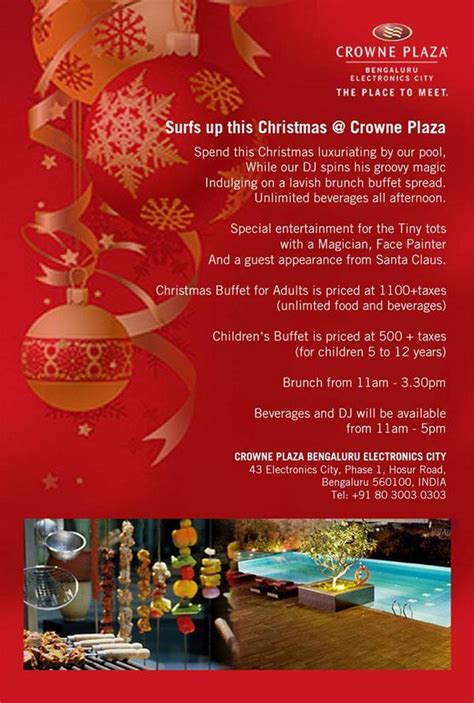crowne plaza christmas brunch buffet and entertainment on