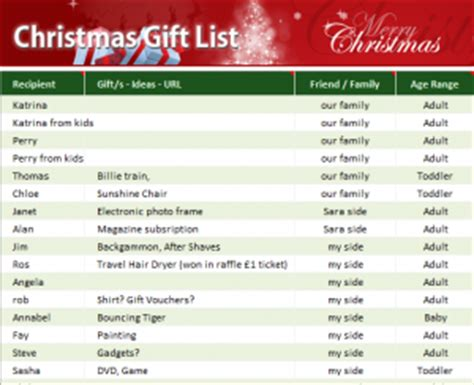 christmas gift list  excel templates