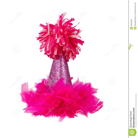 pink feather birthday party hat stock image image  years isolated