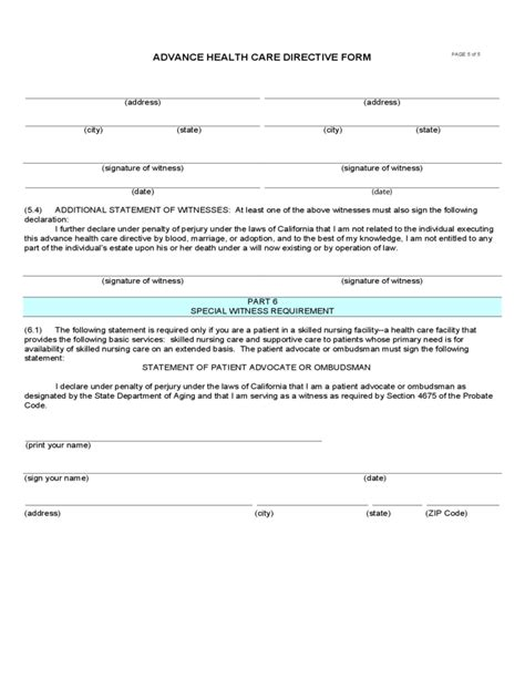 advance directive form california advance health care directive form california free download