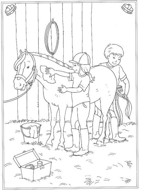 Paardrijden Kleurplaat by Poetsen Je Paard Kleurplaat Jouwkleurplaten