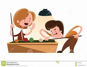 Friends Playing Pool Illustration Cartoon Character Stock ...