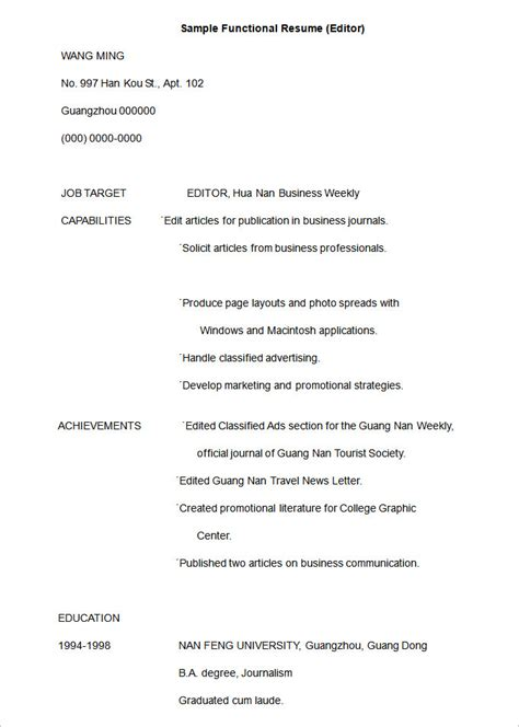 functional resume format example functional resume template 15 free samples examples