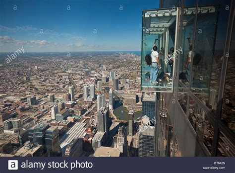 Sears Tower Observation Deck Images by Tourists In Glass Balcony Skydeck Observation Deck View