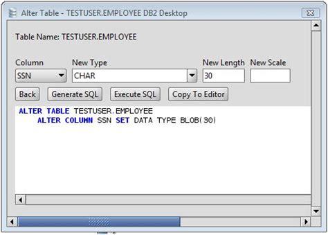 alter table alter column db2 change column type of db2 database table columns via