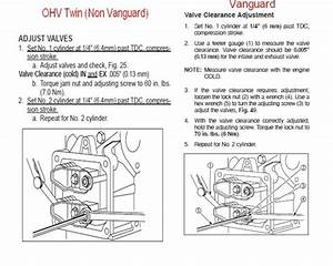 Briggs And Stratton 17 5 Hp Engine Valve Adjustment