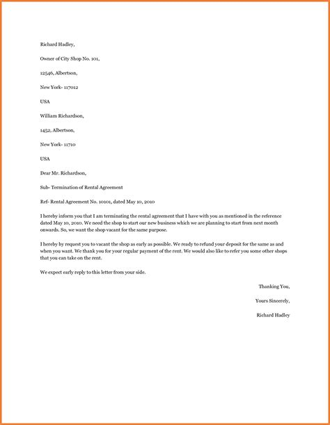 sample letter to terminate contract lease termination letter sop proposal