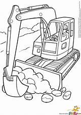 Coloring Diggers Printable Template Templates Bulldozer Excavator sketch template