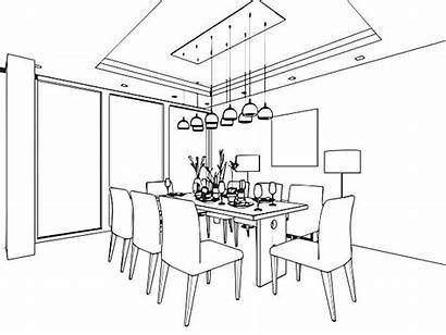 Dining Clipart Vector Sketch Outline Clip Interior