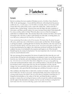 hatchet teaching  gary paulsen novels printable