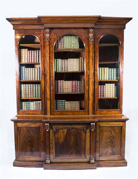 Antique Victorian Flame Mahogany Breakfront Bookcase C