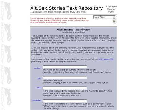 Altsexstories Text Repository Standard Header Form