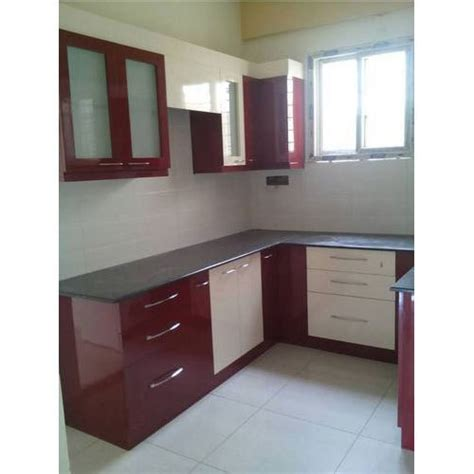 Maroon And White Stylish Modular Kitchen, Rs 1100 Square