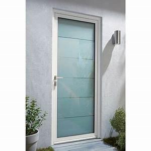 porte d39entree alu alana blanc castorama With porte d entrée aluminium castorama