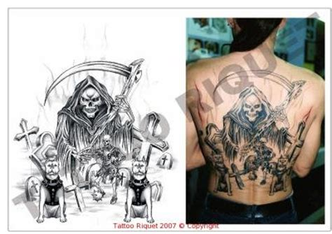 faucheuse cimetiere chiens dos complet eric tattoo