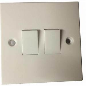 New 2 Gang Way Electric Light Switch White Plastic Double Switches