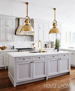 gray kitchen island with brass large country industrial With best brand of paint for kitchen cabinets with gold and silver wall art