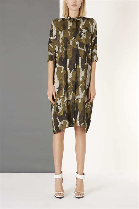 lyst topshop silk camo print shirt dress  natural