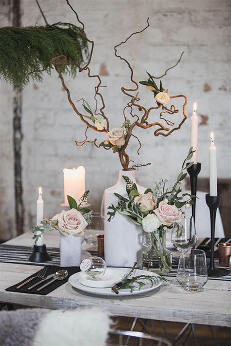 tree branch table l 13 scandinavian inspired ideas for a cozy winter wedding