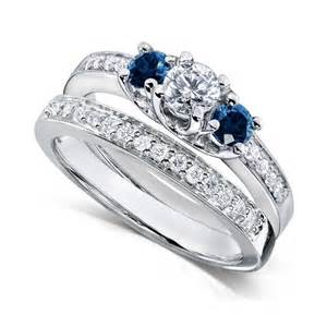 blue sapphire wedding ring sets 1 carat and blue sapphire wedding ring set for in white gold jewelocean