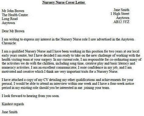Cover Letter For Nursing Application by Letter Of Application Exle Of Cover Letter For A Nursing
