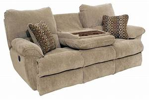 Khaky velvet reclining double seat sofa built in drop down for Sectional sofa with drop down table