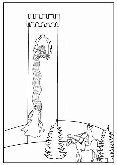 Rapunzel Coloring Pages Tangled Grimm Colouring Sheet